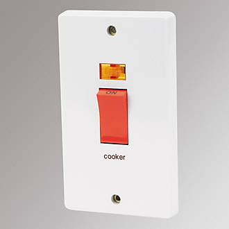 Stupendous Crabtree 2 Gang 50A Dp Cooker Switch White Switches Sockets Wiring Digital Resources Bemuashebarightsorg