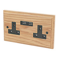 Varilight  13AX 2-Gang Unswitched Socket + 2.1A 2-Outlet USB Charger Classic Oak with Black Inserts