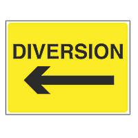 """Diversion"" with Arrow Left Stanchion Sign 450 x 600mm"