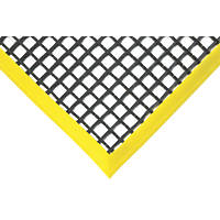 COBA Europe Workstation Anti-Fatigue Floor Mat Black / Yellow 1.5 x 1.0m