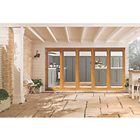 Jeld-Wen Kinsley 5-Door Satin Stained Golden Oak Wooden Slide & Fold Patio Door Set 2094 x 3594mm