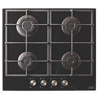Cooke & Lewis CLGOGUIT4 Glass Gas Hob Black 95 x 590mm