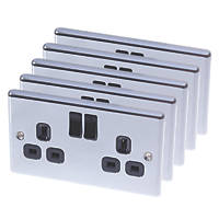 LAP  13A 2-Gang SP Switched Plug Socket Polished Chrome  with Black Inserts 5 Pack