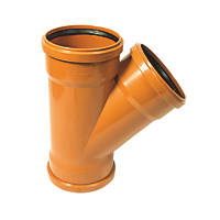 FloPlast Underground Triple Socket Soil Pipe Equal Junction 160mm 45°
