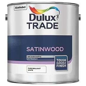 Dulux Trade Satinwood Paint Pure Brilliant White Ltr