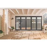 Jeld-Wen Bedgebury 5-Door Satin Painted Grey Wooden Slide & Fold Patio Door Set 2094 x 3594mm