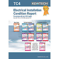 Kewtech TC4 Electrical Installation Condition Report Greater Than 100A Supply Certificates Pad