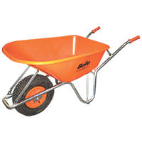 Belle Group Warrior Pneumatic Wheels HDPE Wheelbarrow Silver/Orange 100Ltr