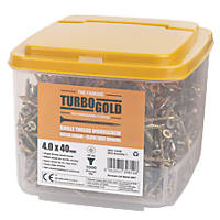 TurboGold PZ Double-Countersunk Multipurpose Screws 4 x 40mm 1000 Pack