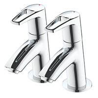 Bristan Smile Basin Pillar Bathroom Taps Pair