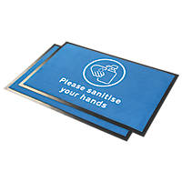 "COBA Europe  ""Please Sanitise Hands"" Indication Floor Mat Blue 0.95 x 0.6m 2 Pack"