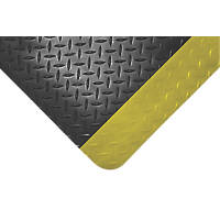COBA Europe Safety Deckplate Anti-Fatigue Floor Mat Black / Yellow 3 x 0.9m
