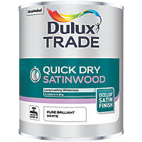 Dulux Trade Quick-Dry Satinwood Paint Pure Brilliant White 1Ltr