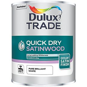 dulux trade quick dry satinwood paint pure brilliant white. Black Bedroom Furniture Sets. Home Design Ideas