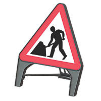 "Melba Swintex Q Sign Triangular ""Men at Work"" Traffic Sign 870 x 1220mm"