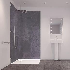 splashwall laminate panel matt grey stone 590 x 2440 x