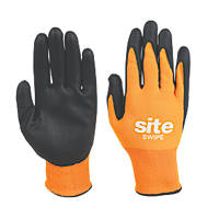 Site Swipe Touchscreen Nitrile Foam-Coated Gloves Orange / Black Large