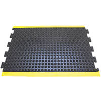 COBA Europe Bubblemat Anti-Fatigue Floor Middle Mat Black / Yellow 1.2 x 0.9m
