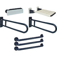 Franke Doc M Bathroom Disability Grab Rails Blue 7 Piece Set