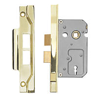Eurospec 2 Lever Electro Brass Rebated Sashlock 64mm Case - 44mm Backset
