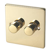 Schneider Electric Ultimate Low Profile 2-Gang 2-Way  Push Dimmer Switch  Polished Brass