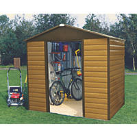 Yardmaster 86WGL Sliding Door Apex Shed Woodgrain Effect Brown 8 x 6'