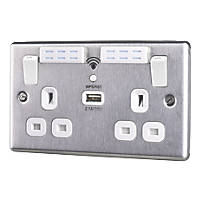 LAP  13A 2-Gang SP Switched Wi-Fi Extender + 2.1A 1-Outlet USB Charger Brushed Steel with White Inserts