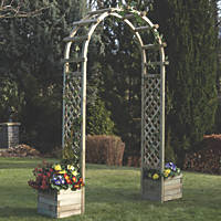 Rowlinson  Arch with Planters Natural timber 1.96 x 0.5 x 2.5m