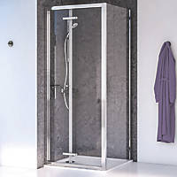 Aqualux Edge 8 Square Shower Enclosure Reversible Left/Right Opening Polished Silver 800 x 800 x 2000mm