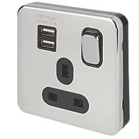 Schneider Electric Lisse Deco 13A 1-Gang SP Switched Socket + 2.1A 2-Outlet USB Charger Polished Chrome with Black Inserts
