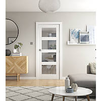 Jeld-Wen  4-Clear Light Primed White Wooden 4-Panel Shaker Internal Door 1981 x 762mm