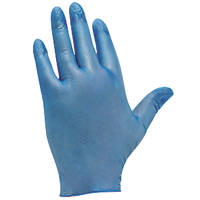 Shield 2602073 Vinyl Powdered Disposable Gloves Blue Medium 100 Pack