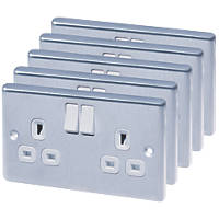 LAP  13A 2-Gang SP Switched Plug Socket Brushed Stainless Steel  with White Inserts 5 Pack