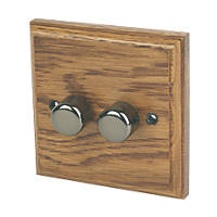 Varilight  2-Gang 2-Way LED Dimmer Switch  Medium Oak