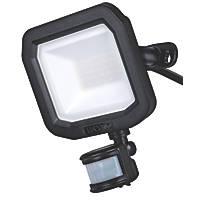 Luceco Slimline LED Floodlight With PIR Sensor Black 20W 2400lm