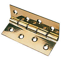 Polished Brass  Washered Hinge 76 x 51mm 2 Pack