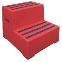 Polyethylene 2-Step Safety Steps 415mm Red