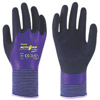 Towa ActivGrip CJ-569 Nitrile-Coated Gloves Black / Blue Medium