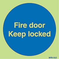 Nite-Glo  'Fire Door Keep Locked' Sign 100 x 100mm
