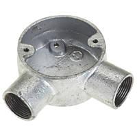 Deta Galvanised Metal Conduit Angle Box 25mm