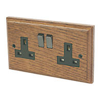 Varilight  13AX 2-Gang DP Switched Plug Socket Medium Oak  with Black Inserts