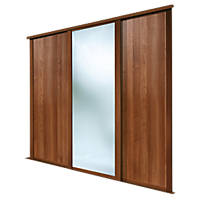 Spacepro Shaker 3 Door Sliding Wardrobe Doors Walnut / Mirror 2592 x 2260mm