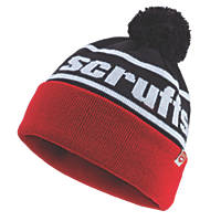 Scruffs T54306 Bobble Hat Black & Red