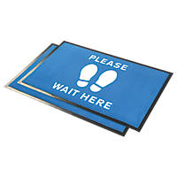 COBA Europe  Social Distancing Indication Floor Mat Blue 0.6 x 0.95m 2 Pack