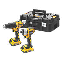 DeWalt DCK2060D2T-SFGB 18V 2.0Ah Li-Ion XR Brushless Cordless Combi Drill and Impact Driver Twin Pack