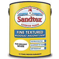 Sandtex Fine Textured Masonry Paint Pure Brilliant White 5Ltr