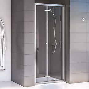 Aqualux Edge 6 Bi Fold Shower Door Polished Silver 900 X