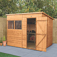"Forest Delamere 7' 6"" x 6' (Nominal) Pent Shiplap Timber Shed"