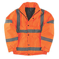 "Hi-Vis Waterproof Bomber Jacket Orange Medium 38-40"" Chest"