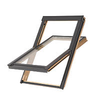 Tyrem  M4A Manual Centre-Pivot Lacquered Natural Pine  Roof Window Clear 780 x 980mm
